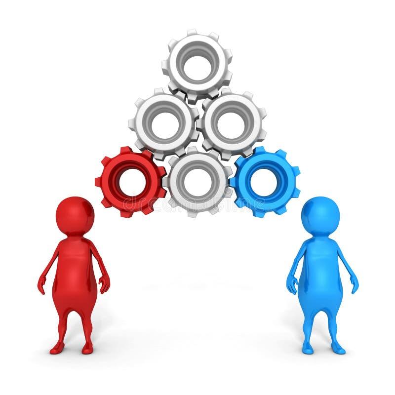 Pojęcia 3d ludzie I Związani Cogwheels Nad głowami ilustracja wektor