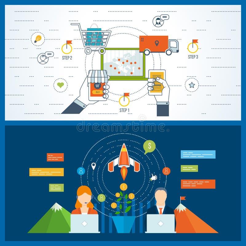 Pojęcia dla mobilnego marketingu, zakupy, zaczynają up biznes, pieniężna strategia royalty ilustracja