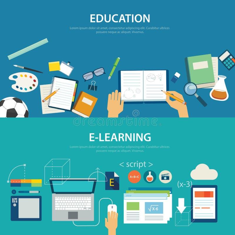 Pojęcia edukacja i nauczanie online płaski projekt royalty ilustracja