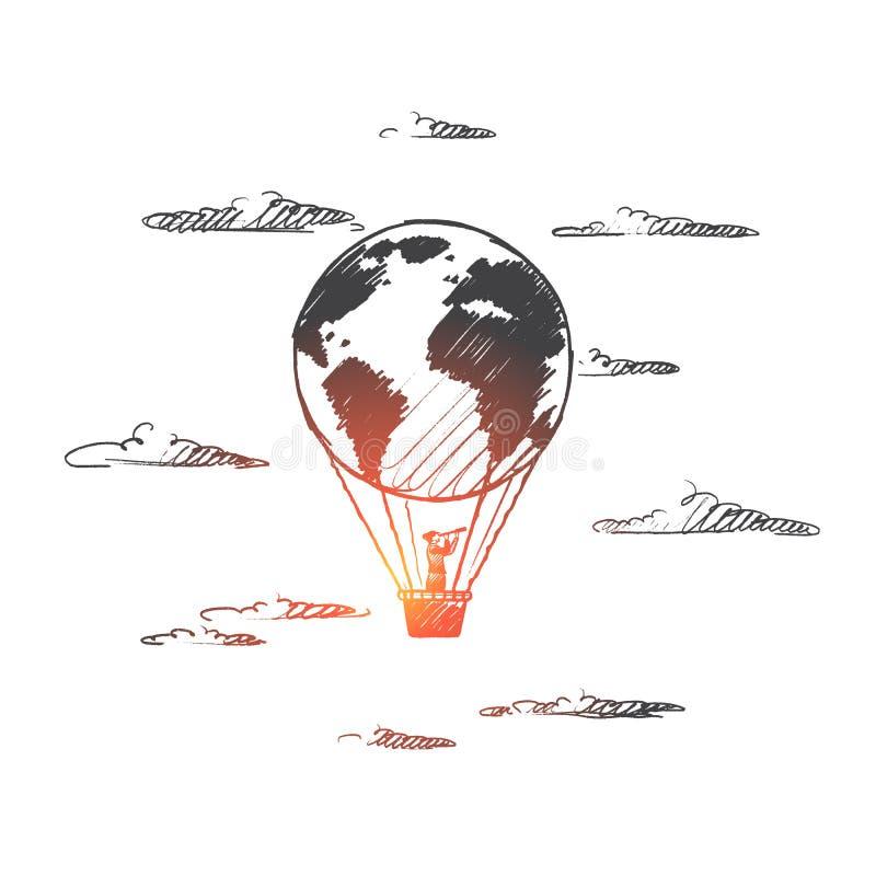 pojęcia globalizacja odosobniony biel Ręka rysujący odosobniony wektor royalty ilustracja