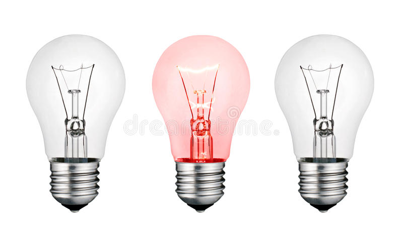 pojęcia gorącego pomysłu lightbulb czerwony biel royalty ilustracja