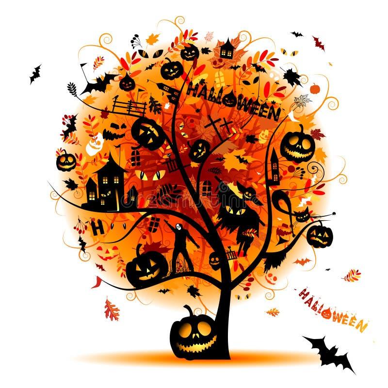 pojęcia Halloween noc przyjęcia drzewo ilustracji