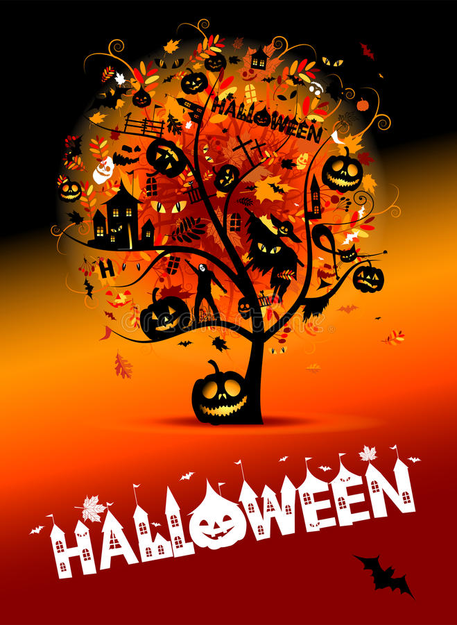 pojęcia Halloween noc przyjęcia drzewo royalty ilustracja