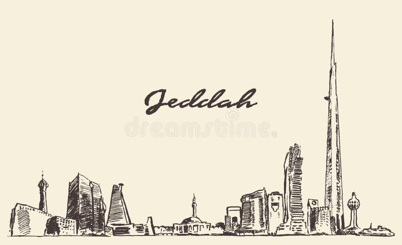 Pojęcia Jeddah linia horyzontu z królestwa wierza rysujący royalty ilustracja
