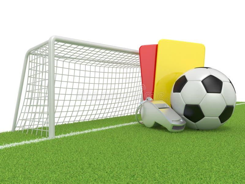 pojęcia kąta pola futbolowe trawy zielone liny Kary (czerwień i kolor żółty) karta, metalu gwizd, piłka i brama, piłki nożnej (fu royalty ilustracja