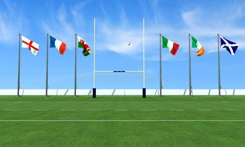 pojęcia narodów rugby sześć ilustracji