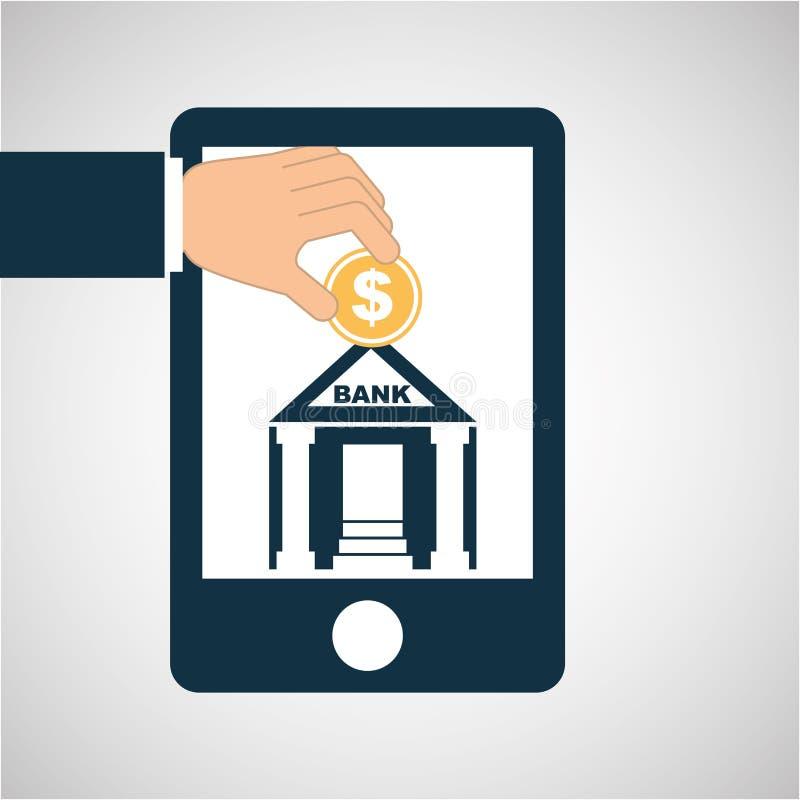 Pojęcia oszczędzania pieniądze banka budynek ilustracja wektor