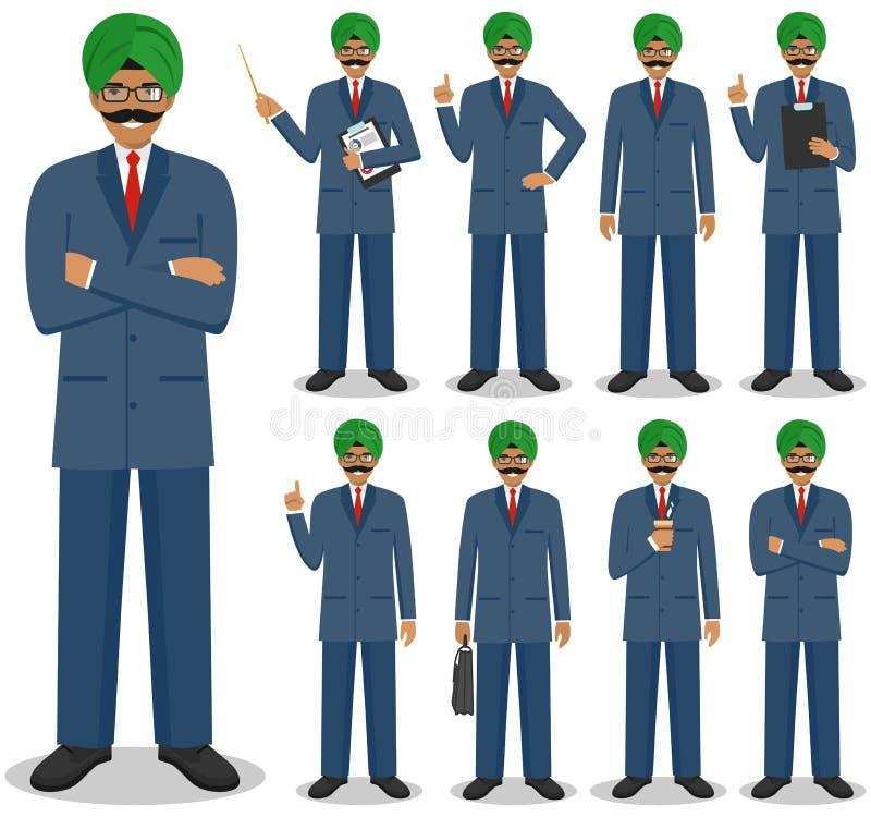 pojęcia prowadzenia domu posiadanie klucza złoty sięgający niebo Szczegółowa ilustracja indyjska biznesmen pozycja w różnych pozy royalty ilustracja