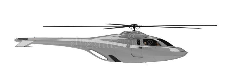 pojęcia przyszłościowego helikopteru odosobniony widok ilustracji