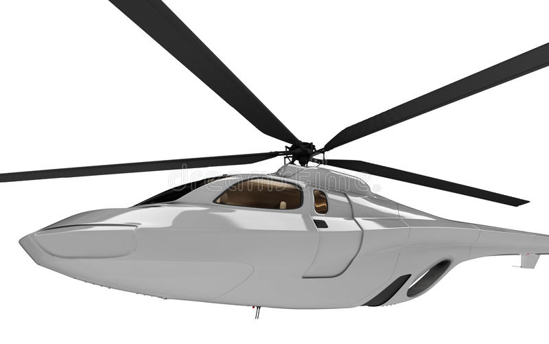 pojęcia przyszłościowego helikopteru odosobniony widok ilustracja wektor
