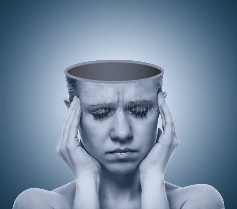 pojęcia pustej migreny otwarta czaszka zdjęcia royalty free
