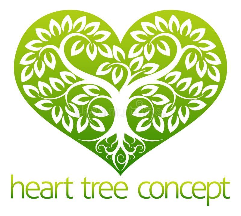 pojęcia serca odosobniony miłości drzewa biel ilustracja wektor