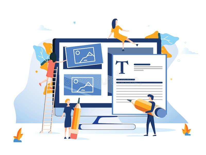 Pojęcia Ux użytkownika doświadczenia rozwoju projekta użyteczność Ulepsza oprogramowanie rozwija firmy UI interfejsu eksperymentu ilustracja wektor