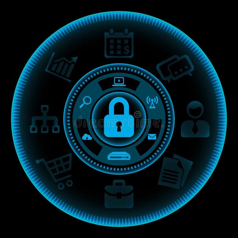 pojęcia zapory informaci odosobniony technologia zabezpieczeń biel royalty ilustracja