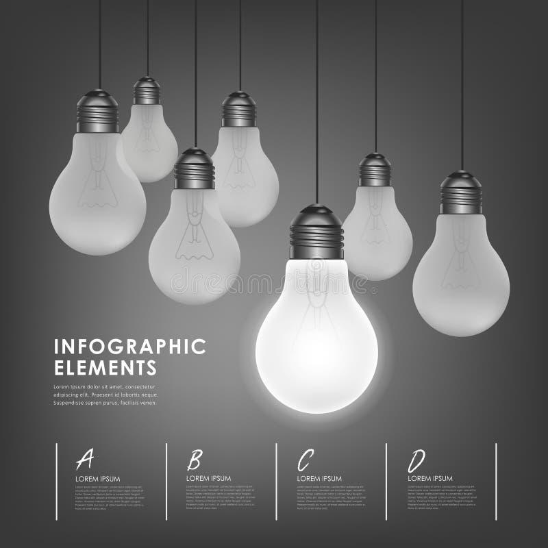 Pojęcie żarówki abstrakcjonistyczni infographic elementy ilustracja wektor