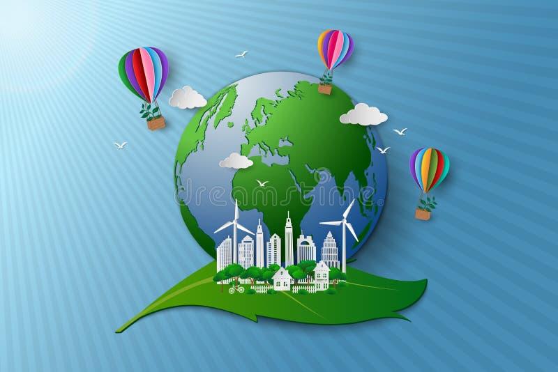 Pojęcie życzliwy eco i środowisko konserwacja ilustracja wektor