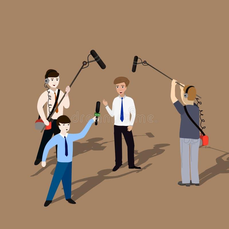 Pojęcie żywa wiadomość, raporty, wywiada ilustracji