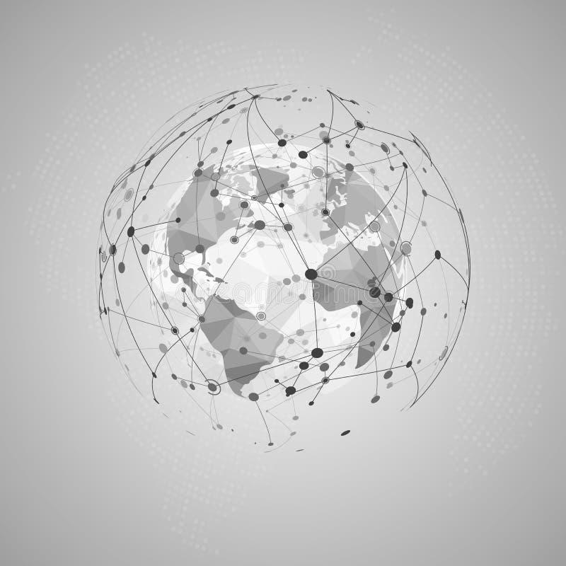 pojęcie abstrakcjonistyczni internety Światowa Poligonalna mapy i unaocznienia Plexus sieci struktura również zwrócić corel ilust ilustracji