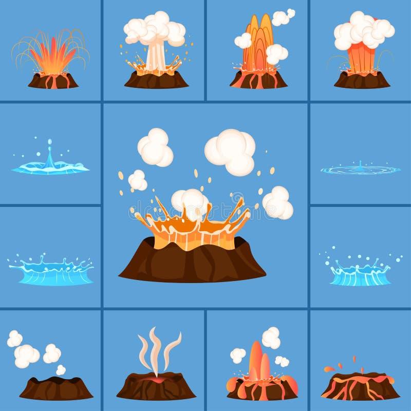 Pojęcie Aktywny wulkan i gejzer w akci royalty ilustracja