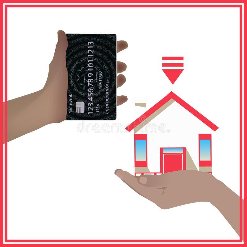 Pojęcie bank karta jest równy dom hipoteka ilustracja wektor