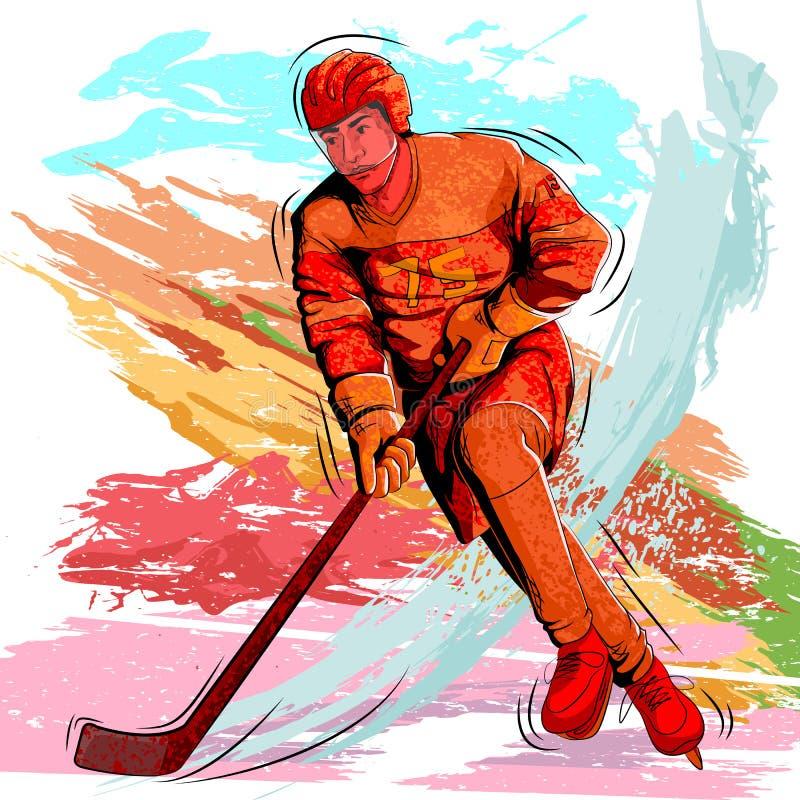 Pojęcie bawić się Lodowego hokeja sportowiec ilustracja wektor