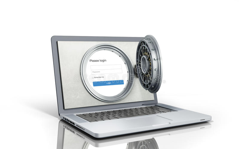 Pojęcie bezpiecznie online bankowość otwarte drzwi bank ilustracja wektor