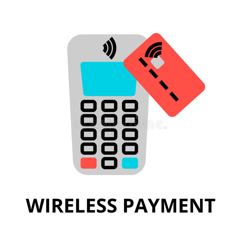 Pojęcie bezprzewodowa płatnicza ikona ilustracji