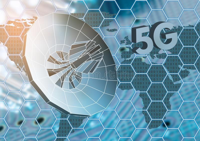 Pojęcie bezprzewodowy radiowy internet 5G wiszącej ozdoby technologie royalty ilustracja