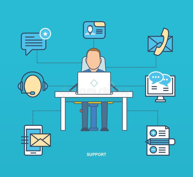 Pojęcie - biznes i technologia, poparcie komunikacje, testimonials przeglądy ilustracja wektor