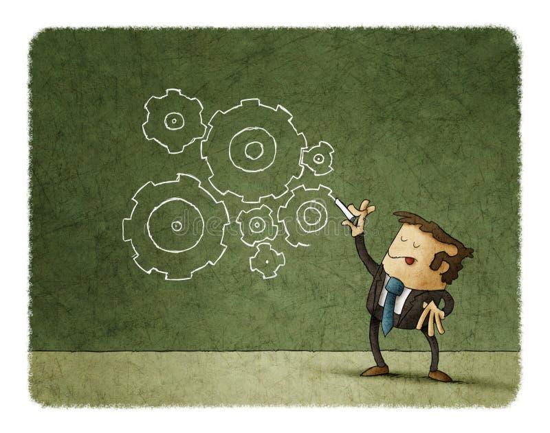 Pojęcie biznes, mężczyzna rysunku przekładnie ilustracji