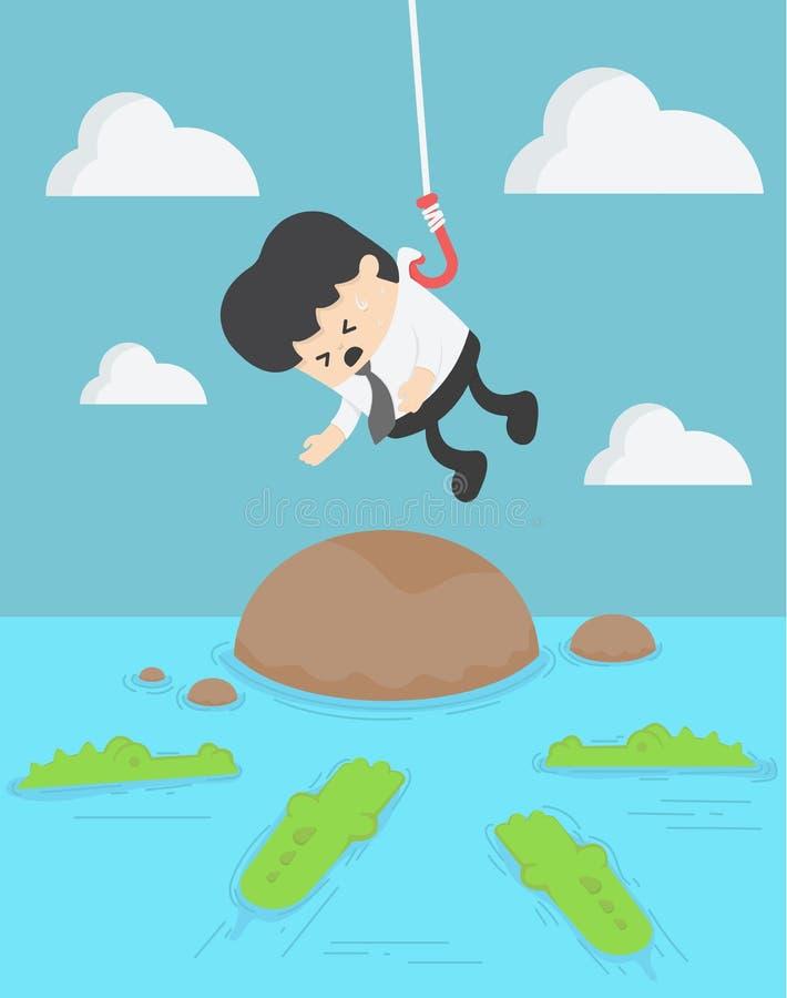 Pojęcie biznesmena ofiara w wodny pełnego z głodnym krokodylem ilustracja wektor