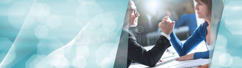 Pojęcie biznesowa negocjacja sztandar panoramiczny royalty ilustracja
