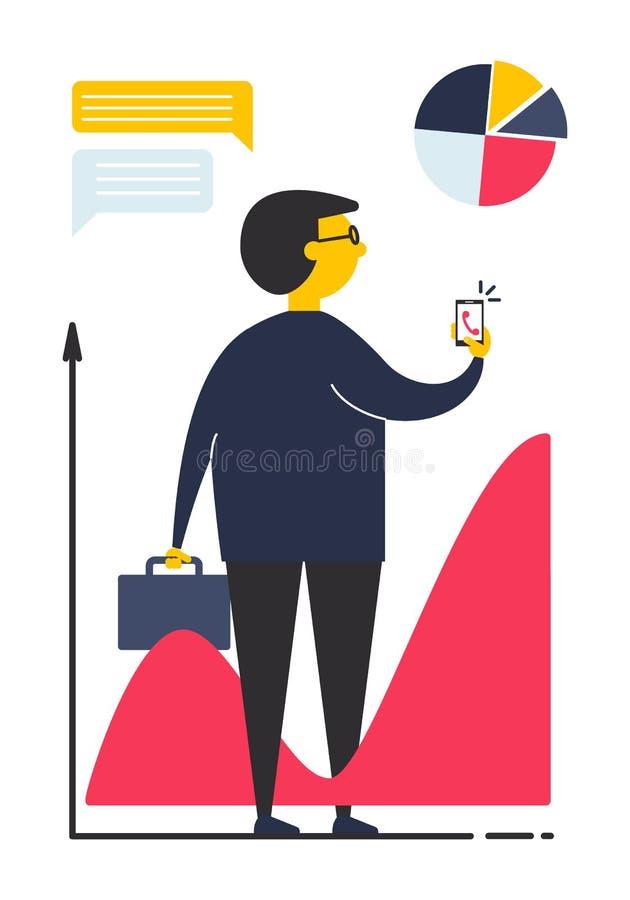 Pojęcie biznesowy mężczyzna w mieszkanie stylu royalty ilustracja