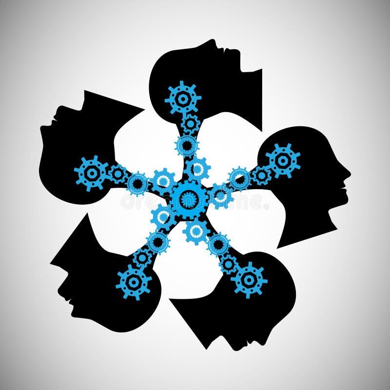 Pojęcie brainstorming, ten wektor także reprezentuje wiedzy udzielenie i przeniesienie, praca zespołowa, ludzie komunikacj, ilustracja wektor