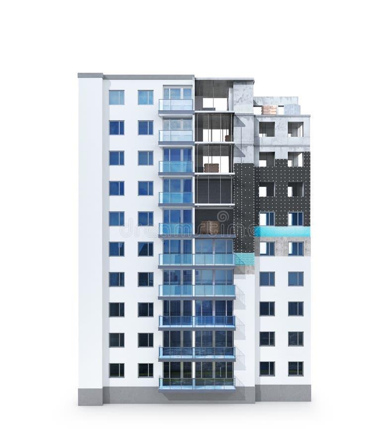 Pojęcie budować mieszkaniowego dom plan grzać fasadę wieżowiec royalty ilustracja