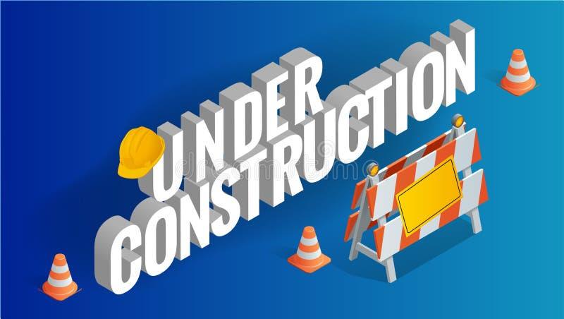 pojęcie budowa Drogi naprawa, w budowie drogowi znaki Płaska 3d Wektorowa isometric ilustracja ilustracja wektor