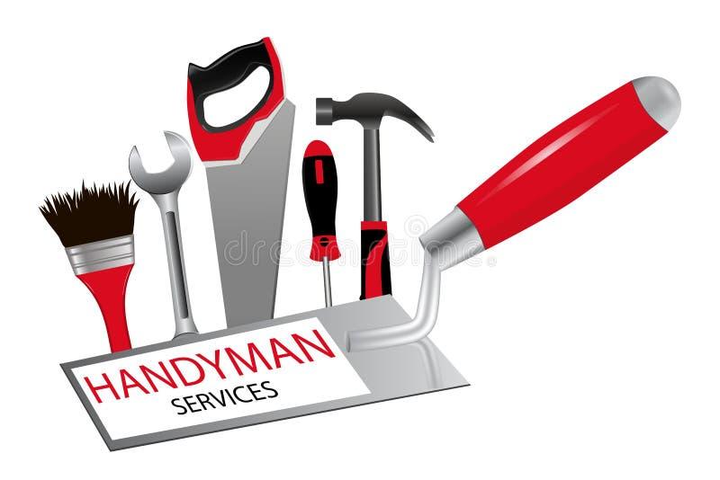 Pojęcie budowa i naprawy Logo dla zawodu royalty ilustracja
