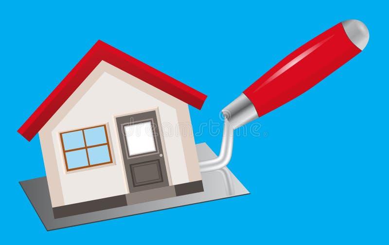 Pojęcie budowy i domu naprawy Dom stoi o royalty ilustracja