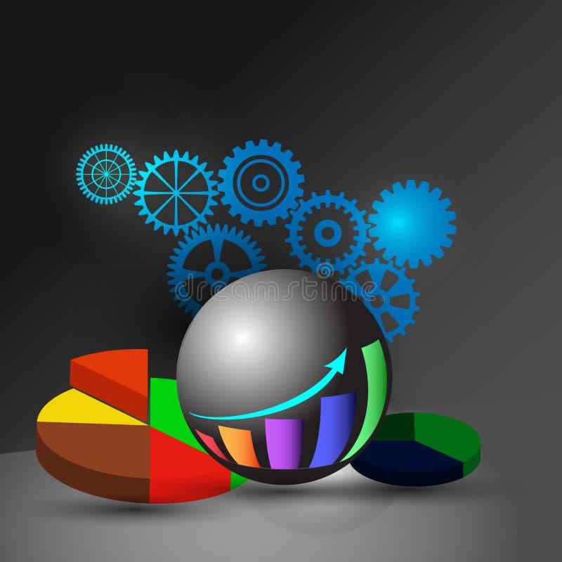 Pojęcie business intelligence deska rozdzielcza, także reprezentuje Analityczną deskę rozdzielczą, reportaż i infographics, ilustracji