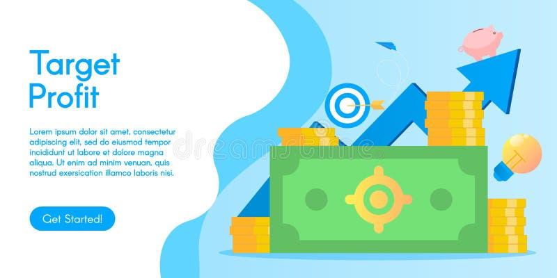 Pojęcie celu zysk, wektorowa ilustracja w płaskim projekcie obraz stock