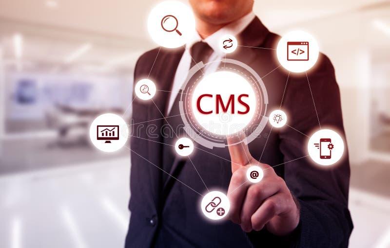 Pojęcie cms zawartości systemu zarządzania strony internetowej administracja fotografia stock