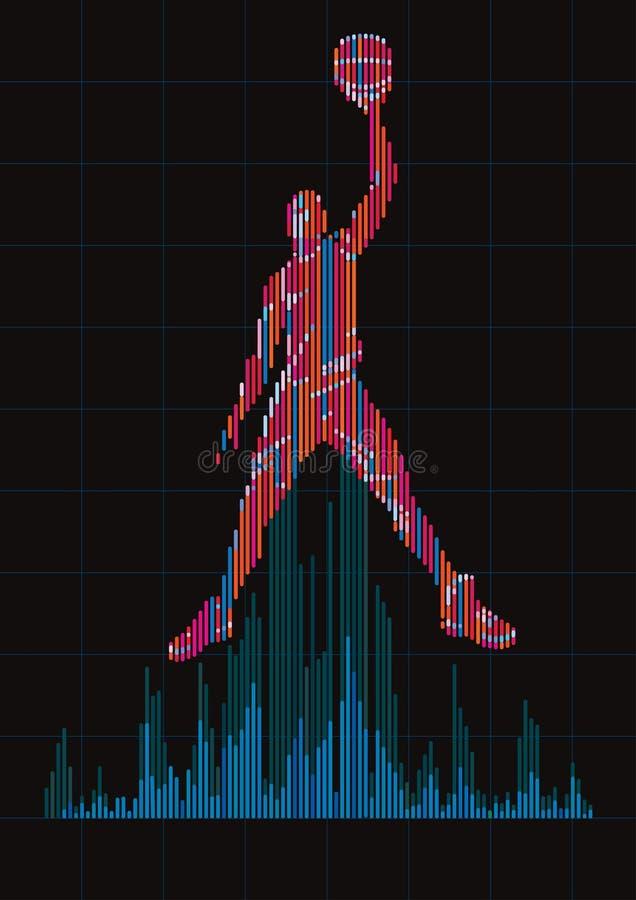 Pojęcie cyfrowy wyrównywacz i gracz koszykówki ilustracji