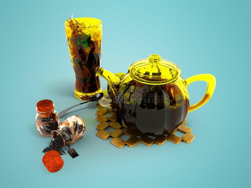 Pojęcie czarna herbata spawa 3d rendering na błękitnym tle z cieniem w glassware royalty ilustracja