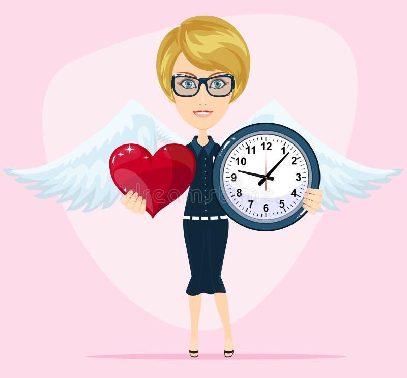 Pojęcie czas miłość czas data ślub dzień St walentynka ilustracja wektor