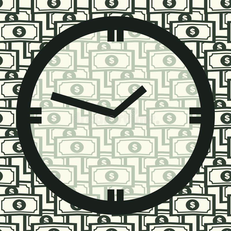 Pojęcie czas pieniądze jest Zegar na Seamles wzorze royalty ilustracja