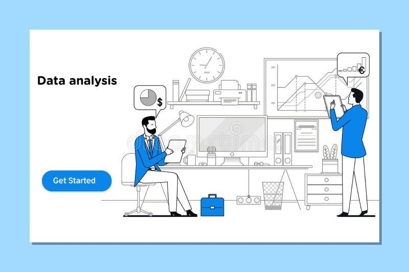 Pojęcie dane analiza dla strony internetowej i wiszącej ozdoby strony internetowej ilustracja wektor