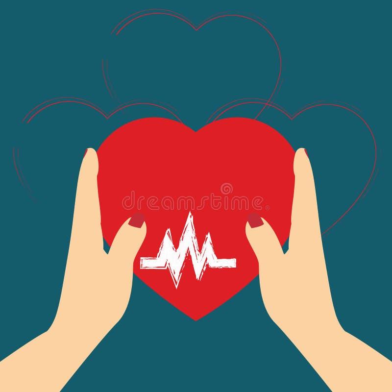 Pojęcie Darowałem organ, serce w ręka symbolu, kierowa ikona w r royalty ilustracja