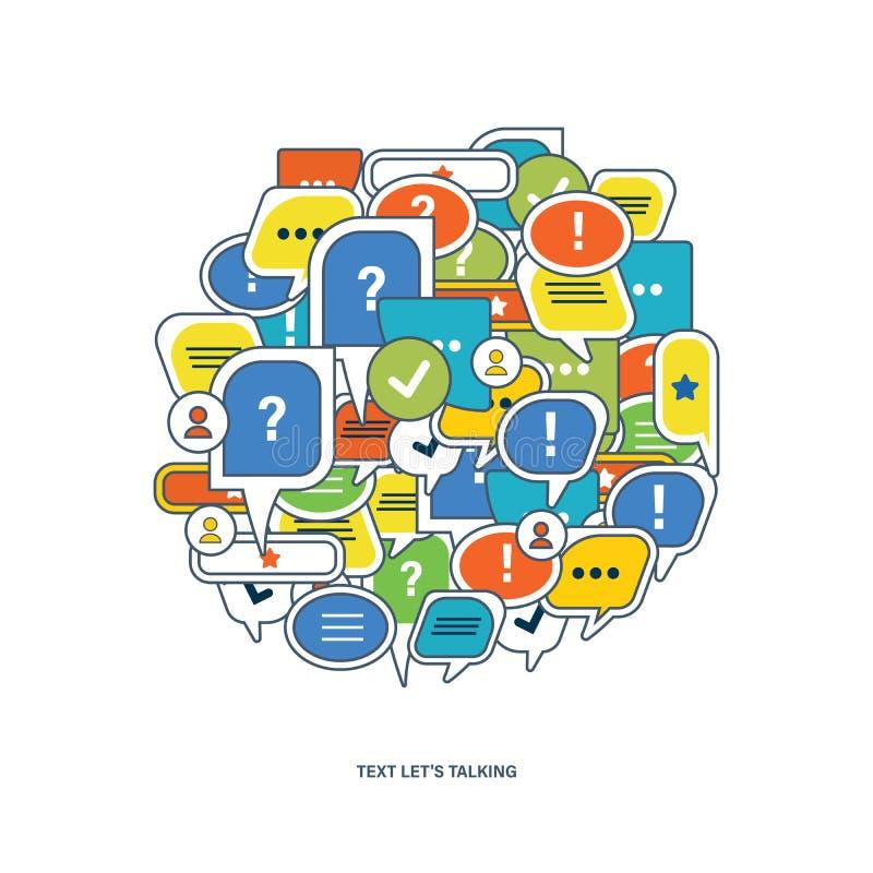 Pojęcie dialog, mowa gulgocze z symbolami komunikacyjnymi ilustracja wektor
