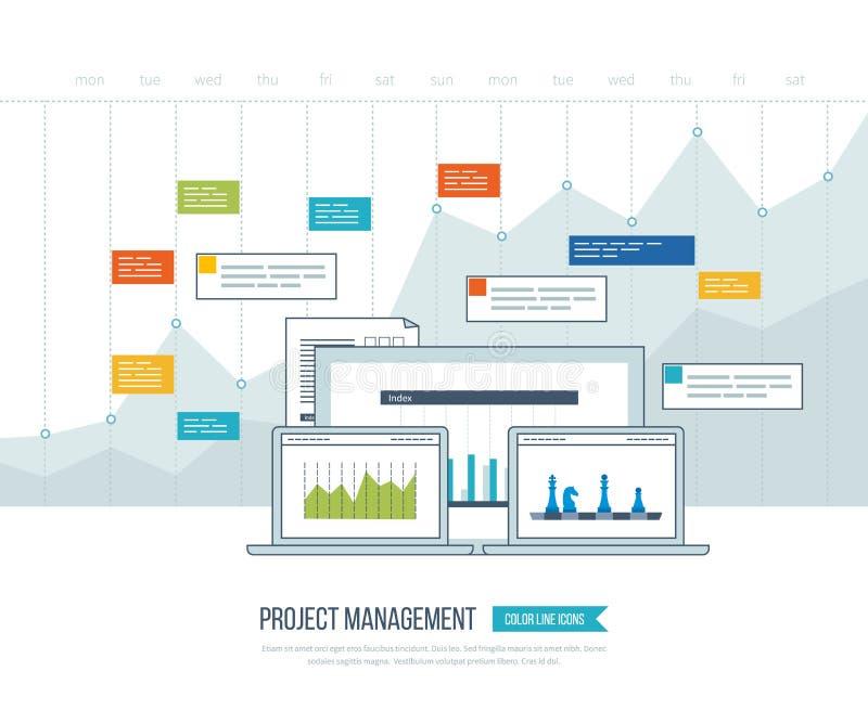 Pojęcie dla biznesowej analizy, inwestycja, konsultuje, strategia planuje, zarządzanie projektem royalty ilustracja