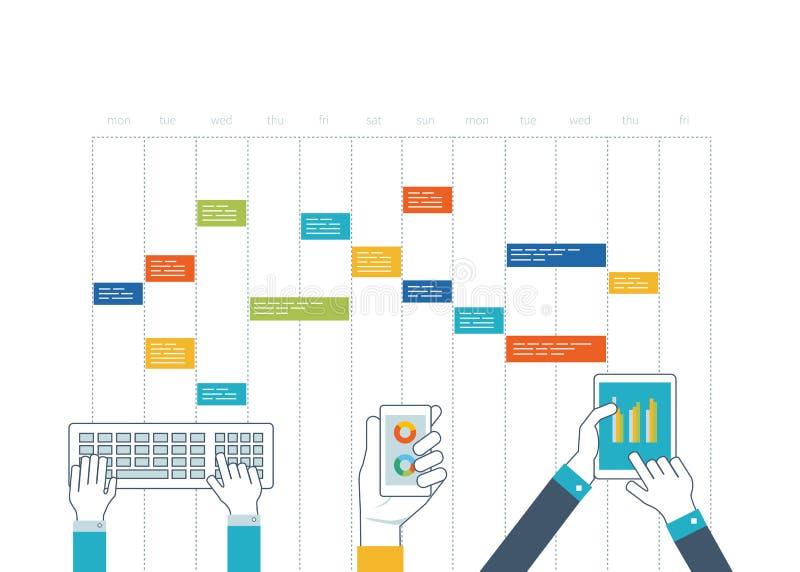 Pojęcie dla biznesowej analizy, konsultuje, strategia planuje, zarządzanie projektem ilustracji